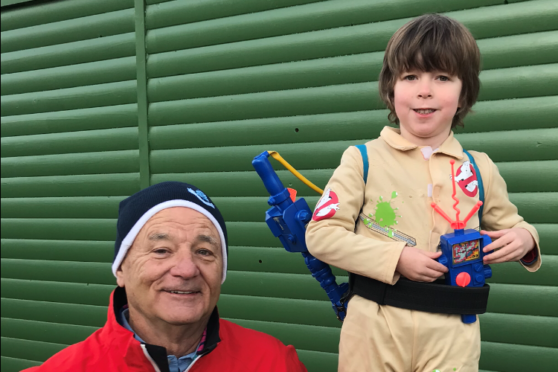 Young ghostbuster Jacob with star Bill Murray