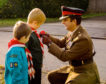 Jameson, 10, and Ben, 8, with dad Lieutenant Colonel Jamie Hayward.