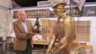 David Anderson alongside the statue of John Rattray.