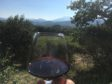 Enjoying a glass of red in the Rhone Valley.
