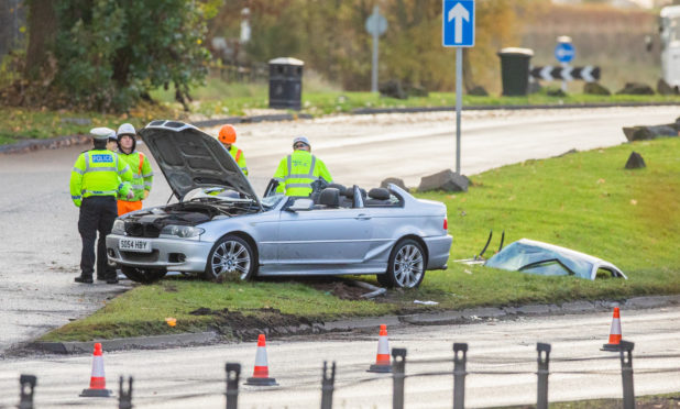 The crash on the A90 at the Swallow Roundabout.