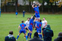 Double try-scorer Connor Wood takes lineout ball for Kirkcaldy at Mayfield.