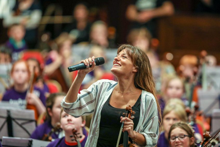 Nicola Benedetti and Big Noise perform with 320 children at Festival of Strings Dundee.