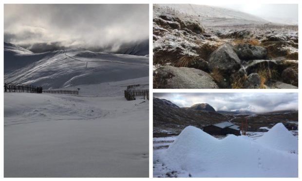Snow at Glenshee (left), Nevis Range (top right) and Glencoe Mountain Resort (bottom right).