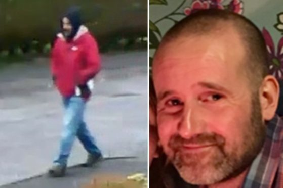 Left: The CCTV image. Right: A photo of Martyn Cruickshank.