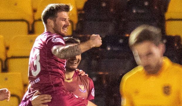 Matty Kennedy celebrates his midweek winner.