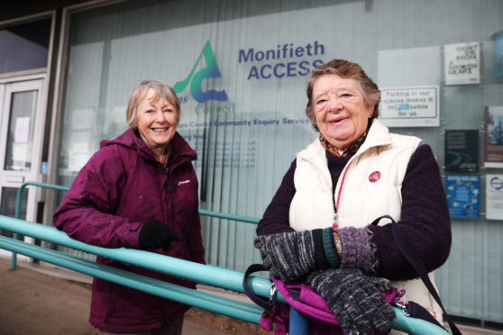 Marianne Buultjens and Margaret Copland of Monifieth Local History Society, outside the former Access office the group hoped to move in to.