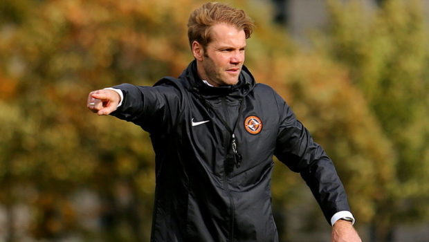 Robbie Neilson taking his first training session as manager at Dundee United.