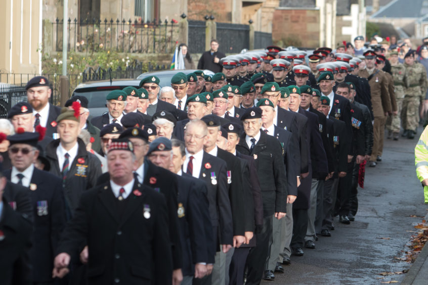 Remembrance parade and laying of wreaths at Arbroath's War Memorial.