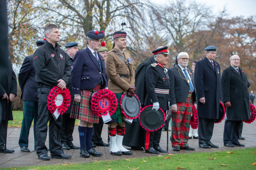 Perth and Kinross Provost Dennis Melloy, Her Majesty's Lord-Lieutenant of Perth and Kinross, Brigadier Sir Melville Jameson, and Commanding Officer 7 SCOTS Lt Col Matt Sheldrick lay wreaths at the 51st Memorial at the North Inch Perth today as part of the Perth Remembrance parade and service.