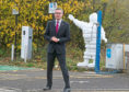 Cabinet Secretary for Finance and the Constitution Derek Mackay outside Dundee's Michelin Factory shortly after the closure was announced.