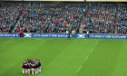 Scotland V Argentina at Murrayfield: The Scotland players huddle ahead of kick off.