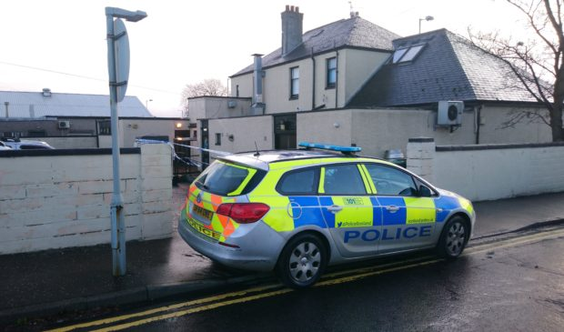 Police at the Boars Rock pub on Friday morning