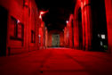 St Salvator's Quad has been lit up red to mark the centenary.