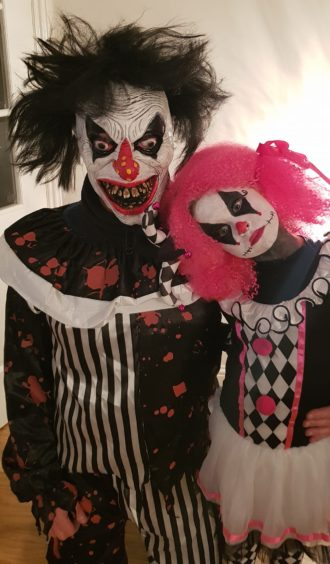 "The very scary ""daddy and daughter clown"" duo, Stevie and Megan."