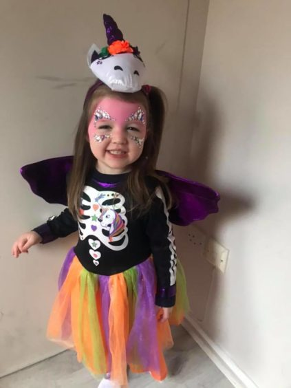 "Ellie, 3, said she wanted to be a ""pretty unicorn"" on Halloween."
