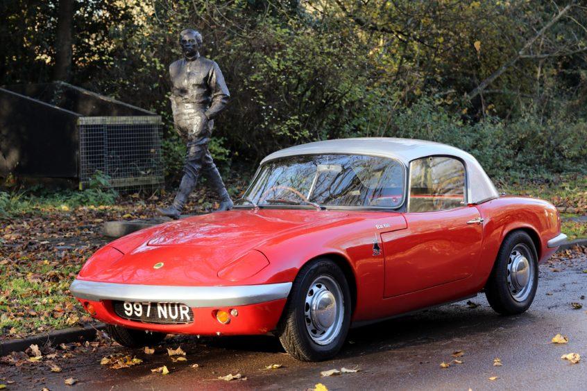 Clark's original 1962 Lotus Elan at his Kilmany birthplace memorial.