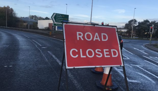 The A9 road was closed at Inveralmond after Sunday morning's accident.