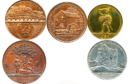 "Examples of the ""industrial design"" coins created by James Wright, father of Frances Wright."