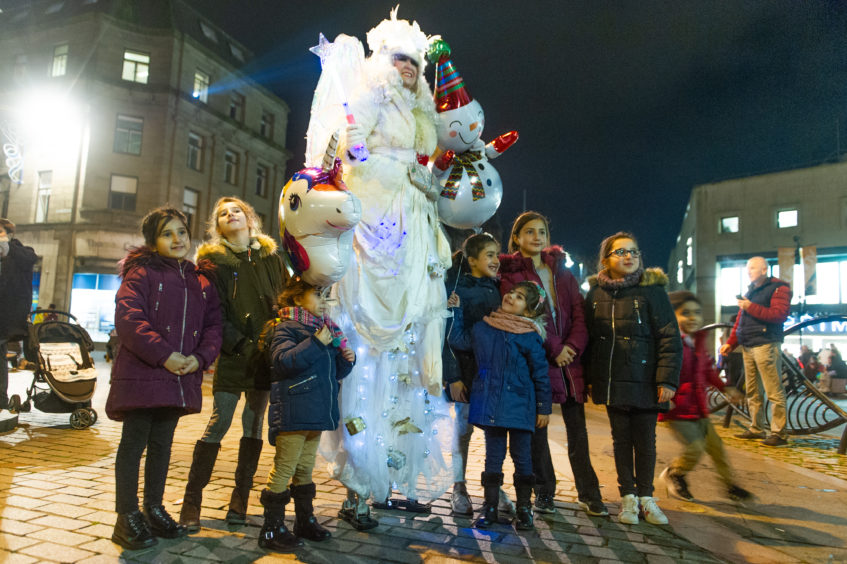 Magical characters roamed the streets of Dundee for the Christmas lights switch-on.