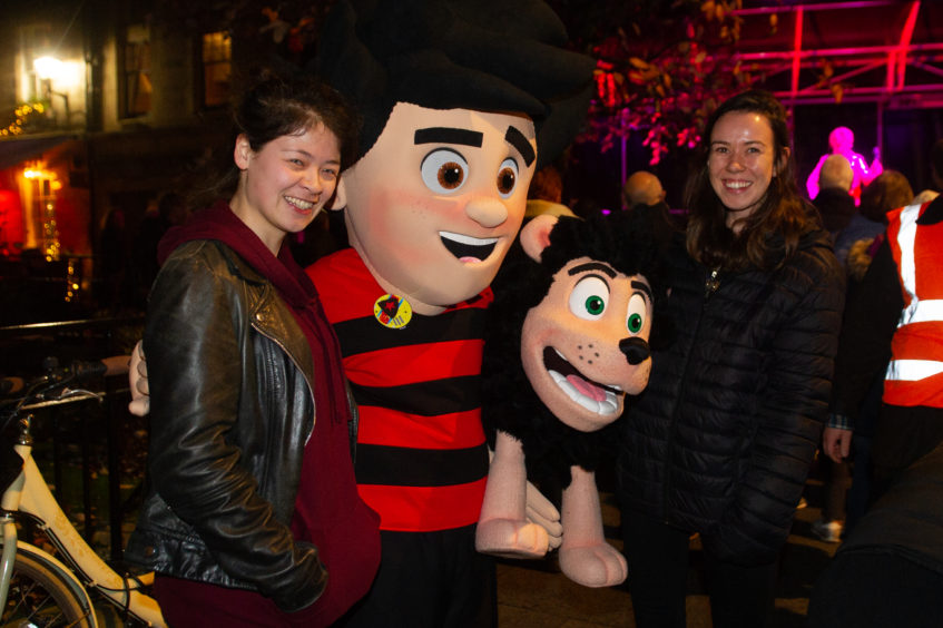 Dennis and Gnasher met students Josephine Tomkins and Joanna Moodie.
