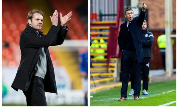 Dundee United boss Robbie Nielson and Dundee manager Jim McIntyre.