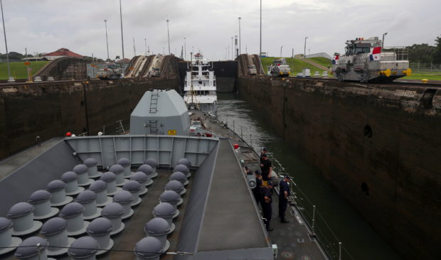 HMS Montrose transits the canal.
