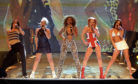 The Spice Girls perform on stage at the Brit Awards ceremony in London on 24/02/1997.
