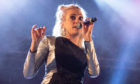 Pixie Lott performs on the Main Stage during the Christmas lights switch-on event.