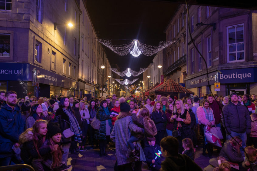 Crowds gathered for the Perth Christmas Lights switch-on.