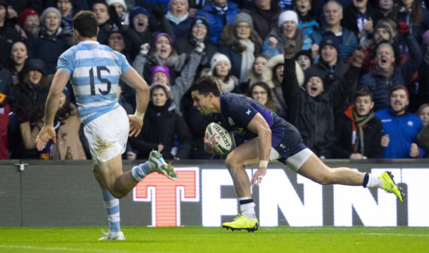 Sean Maitland goes over to score Scotland's sole try in their 14-9 win over Argentina.