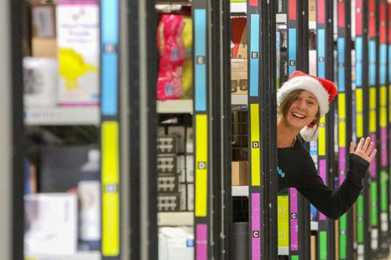 Amazon worker Helen Drylie getting into the festive spirit.