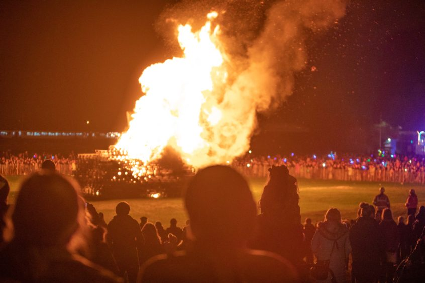The bonfire lights up - Burntisland.