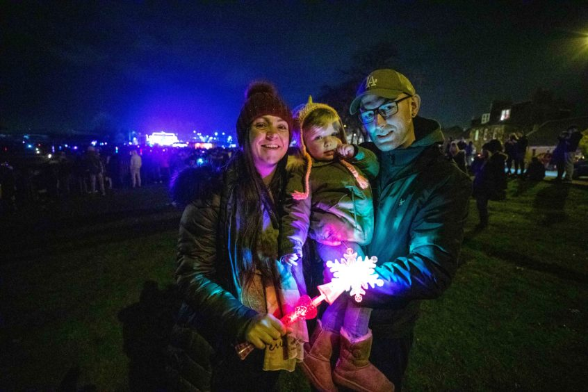 Stephanie Fernie, Ella Horsburgh and Graeme Horsburgh at the fireworks display IN Burntisland.