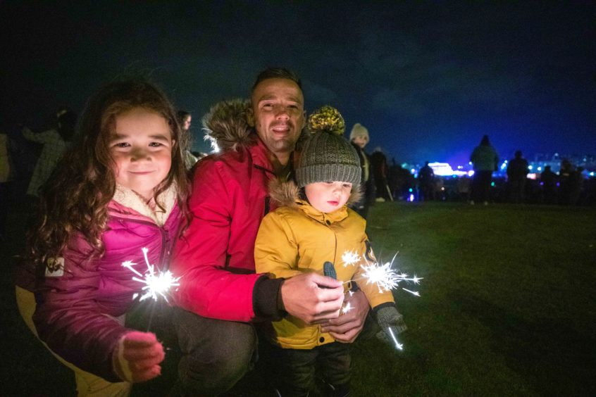 Abigail Done (6) with Harris Quinn (2) at the Burntisland fireworks display.