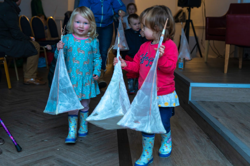 Robin Stockwell (2) and Ilisa Bowyer (2) with their lanterns.