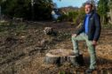 Duncan McKendrick at the site of the felled trees.