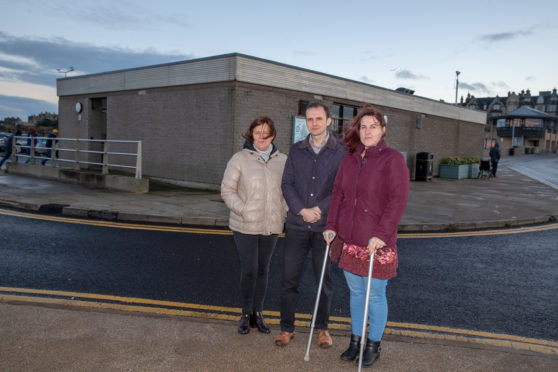 Debbie MacCallum, Tourism St Andrews, Stephen Gethins MP and Amy Newton, MS Fife branch, who are concerned over plans for the new toilets on the Bruce Embankment and the access for the disabled.