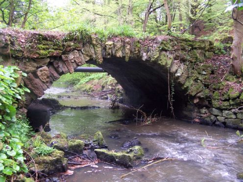 The remains of a rustic bridge over the Bluther Burn at Valleyfield