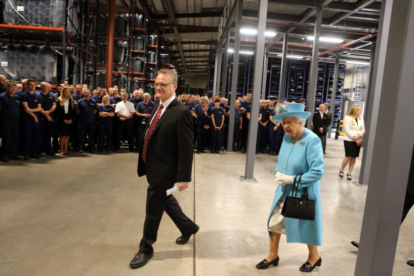The Queen at Michelin  Dundee with factory manager, John Reid.