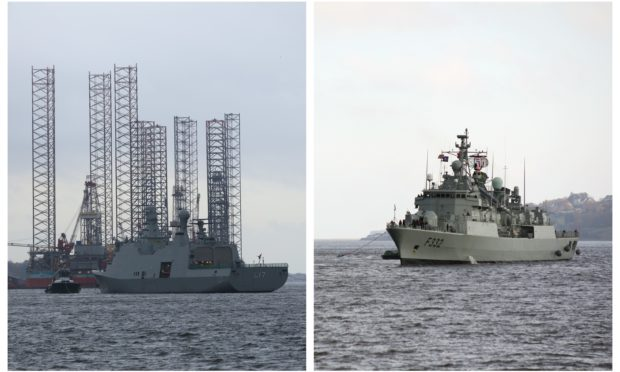 Two of the NATO warships arriving in Dundee.