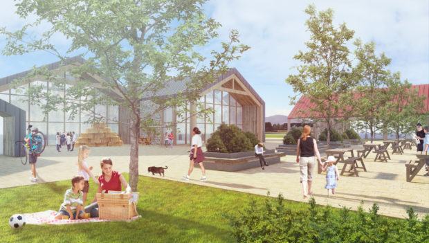 Artist's impression of the proposed Mains of Luther roadside services complex