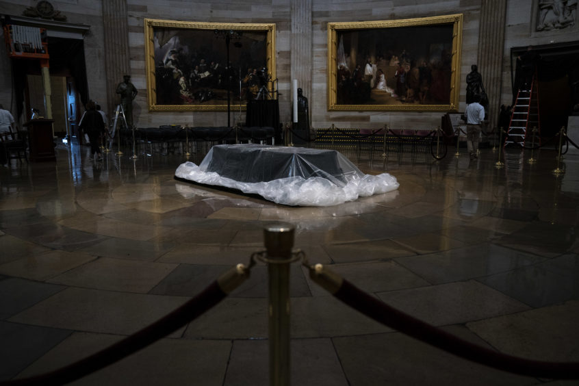 The catafalque is prepared where the casket of the late former President George H.W. Bush will lie in state sits inside the Rotunda of the U.S. Capitol, December 3, 2018 in Washington, DC. On Monday, the body of the former president will travel from Houston to Washington, where he will lie in state at the U.S. Capitol through Wednesday morning.