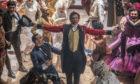 Hugh Jackman as PT Barnum and Keala Settle as the bearded lady Lettie Lutz in The Greatest Showman.