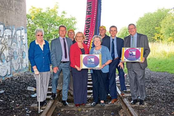 Levenmouth rail campaigners with ltr Elizabeth McGuire David Torrance MSP, Allen Armstrong, Trichia Marwick, Mary Reilly, Ross Bennett, Stephen Gethins and Eugene Clarke.