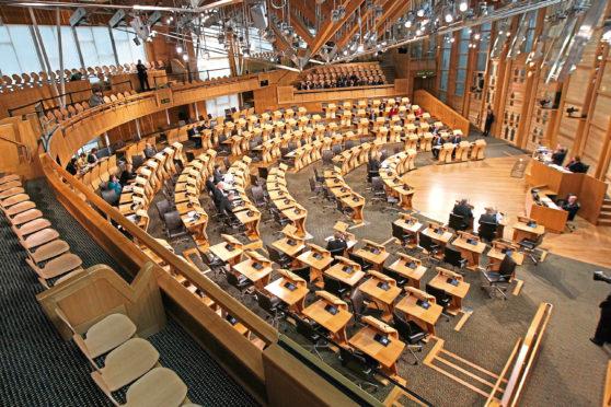 The debating chamber at Holyrood.