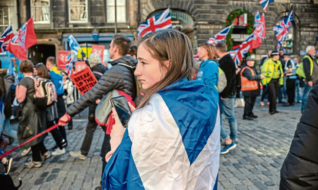 An All Under One Banner protest and counter-protest in Edinburgh.
