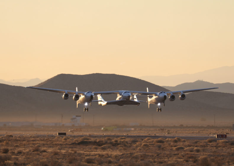 Take-off for the Virgin Galactic test flight of SpaceShipTwo VSS Unity at the Mojave test centre in California