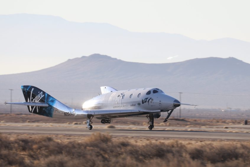 The Virgin Galactic SpaceShipTwo VSS Unity landing at the Mojave test centre in California after her test flight