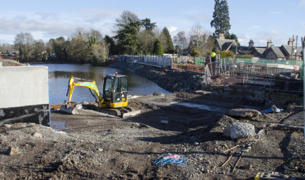 Some of the flood defences construction work